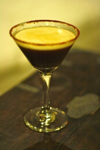 Tamarind Martini at the Gallery Cafe.  Vodka, Vermouth, Tamarind Liquid.  Chilli on the rim.