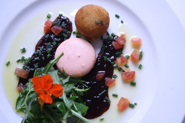 Franck's food.  Prawn beignets and cheese fritter with tomato macaroon at the Food Barn